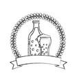 beer botlle and glass drink emblem vector image