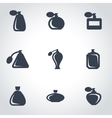 black perfume icon set vector image