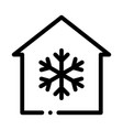 building and snowflake cooling equipment vector image