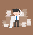 business man holding and reading long paper of vector image