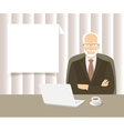 businessman sitting at office desk vector image vector image