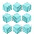 Cartoon Isometric ice game brick cubes set vector image vector image