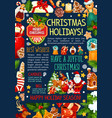 christmas and new year poster template design vector image vector image