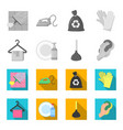 cleaning and maid monochromeflat icons in set vector image vector image