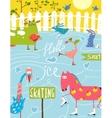 Colorful Fun Cartoon Farm Ice Skating Animals for vector image vector image