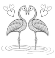 Coloring page with Flamingo birds in love vector image vector image