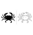 crab silhouette sea animal vector image