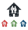Family house grunge icon set vector image vector image