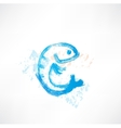 Fish blue grunge icon vector image