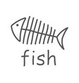 fish sceleton white sign on dark background vector image