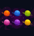 funny cartoon fantasy furry planets set vector image vector image