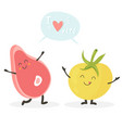 funny meat and tomato characters with lettering vector image