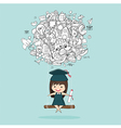 Girl graduated pupils swinging on a back of school vector image vector image