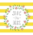 greeting card invitation in a yellow strip vector image vector image