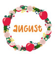 hand drawing lettering month august in a wreath