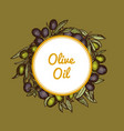 hand drawn olive branches with place for vector image