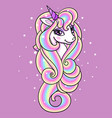 head a unicorn with a long mane vector image vector image