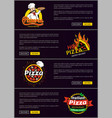 hot italian pizza fast delivery web pages set vector image vector image