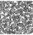 ink hand drawn leaves seamless pattern vector image vector image