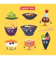 Japanese food Soy sauce and sushi roll vector image