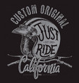 just ride helmet with handle bar t shirt print vector image vector image