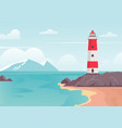 lighthouse in bay on beach lighthouse tower on vector image vector image