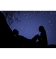 Lovers under night sky