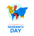 migrant day world map card for global migration vector image vector image