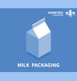milk packaging icon isometric template vector image