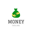 money bag icon isolated hand holding green vector image