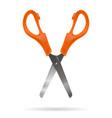 open office scissors with plastic orange handles vector image