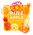 pineapple label with ink hand painted elements vector image vector image