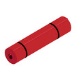 red yoga mat isolated on white background vector image vector image