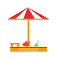 sandbox and umbrella striped tent with sand vector image vector image