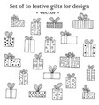 set of 20 festive gifts for design vector image vector image