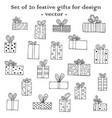 set of 20 festive gifts for design vector image