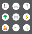 set of gardening icons flat style symbols with vector image vector image