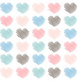 sketched artistic hearts in soft colors background vector image vector image