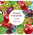 tropical paradise fruits avocado papaya kiwi vector image