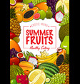 tropical sweet fruits poster vector image vector image
