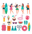 various characters of summer travellers vector image