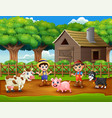 young farmers activities with animals on farm vector image vector image