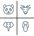 zoo icons set collection of duck moose trunked vector image vector image