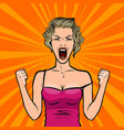girl screams loudly or young woman in rage pop vector image