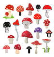 cartoon different style of amanita mushrooms vector image