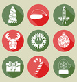 A set of Christmas icons White color Flat design vector image