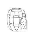 beer barrel and bottle drink beverage vector image vector image