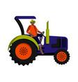 black farm worker-tractor driver in a hat orange vector image vector image