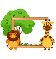 border template with lion and giraffe vector image vector image