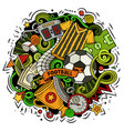 cartoon doodles football vector image vector image